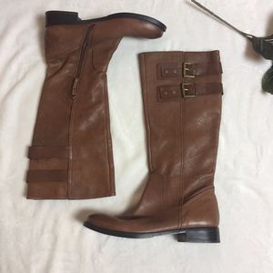 Nine West Tan Leather Riding Boots with Buckles
